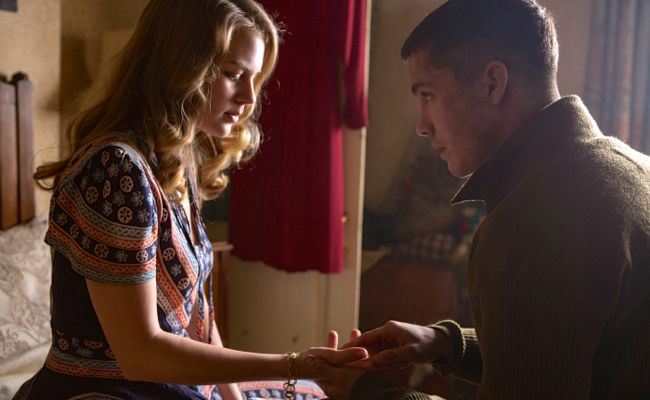 Alicia von Rittberg and Logan Lerman in 'Fury'